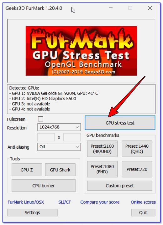 FurMark — GPU stress test