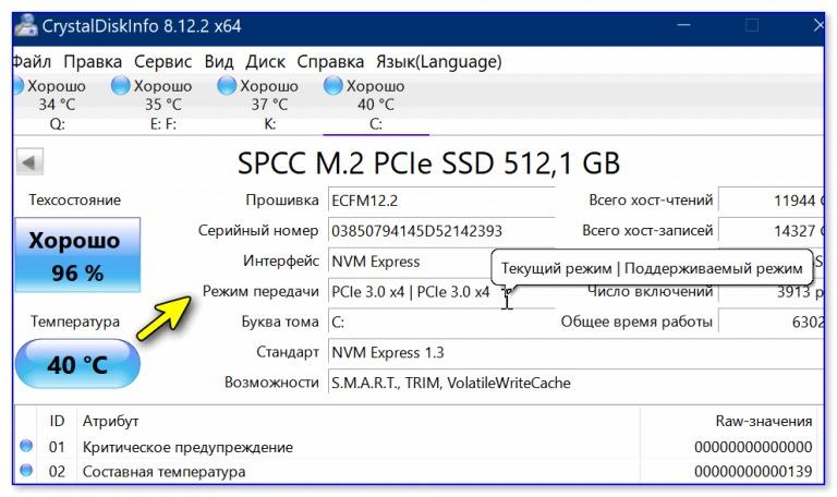 NVME диск в CrystalDiskInfo